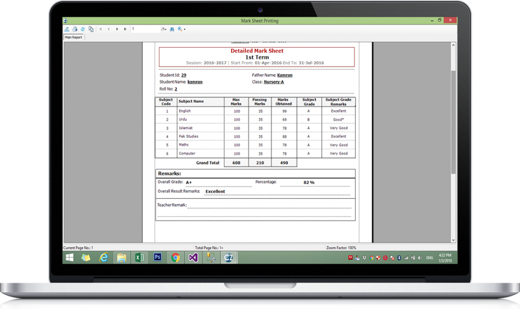 Mark Sheet Template 2